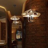 Nordic Industrie UFO jahrgang bekleidungsgeschäft KTV bar pendelleuchte cafe bar kunst pendelleuchten seil deck