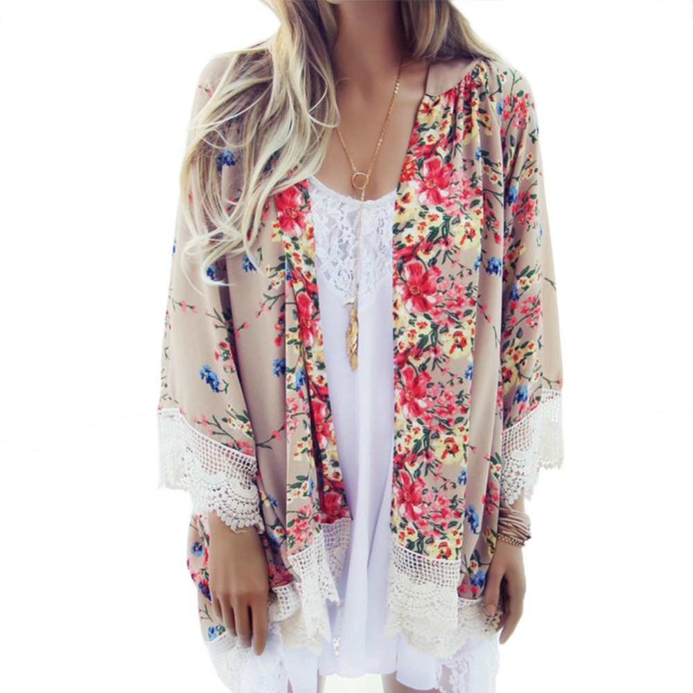 Neue Retro Frauen Chiffon Häkeln Bluse Floral Kimono Cardigan Tops