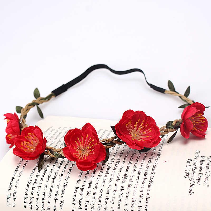 M MISM בוהמי פרח סרט לאישה יפה פרחוני שיער להקות בד זר חתונה נזר כלה כתר ילדה זר