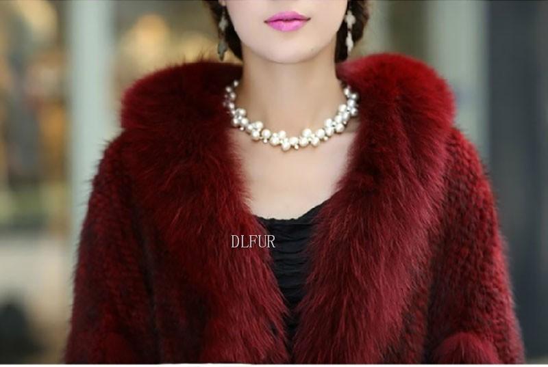 Hot Sale Genuine Mink Fur Shawl With Fox Fur Trim Women Natural Mink Fur Poncho Winter Knitted Mink Fur Jackets DL6235 (9)