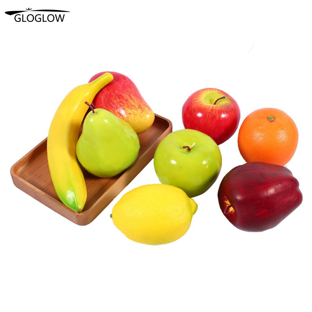 8 Pçs/set Cozinha De Frutas De Plástico Frutas Artificial Falso Exibição  Comida Do Casamento