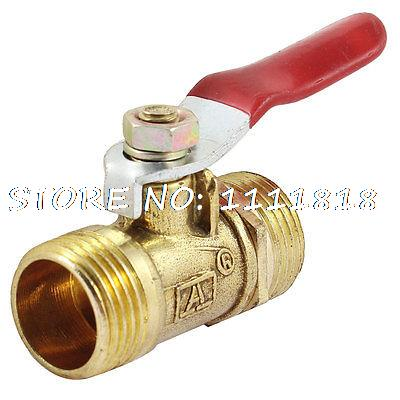 Male to Male 3/8 PT Threaded Red Plastic Coated Lever Handle Brass Ball Valve