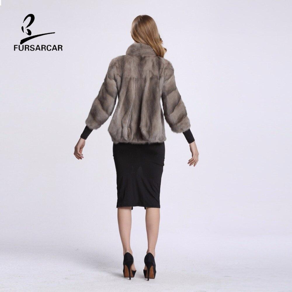 FURSARCAR Wanita Mink Fur Coat Tiga Perempat Lengan Penuh Pelt Nyata - Pakaian Wanita - Foto 6