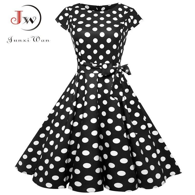 Schwarz Weiß Polka Dot Vintage Kleid Sommer Frauen Floral Print Kurzarm Retro Robe Rockabilly Kleider Party Jurkjes
