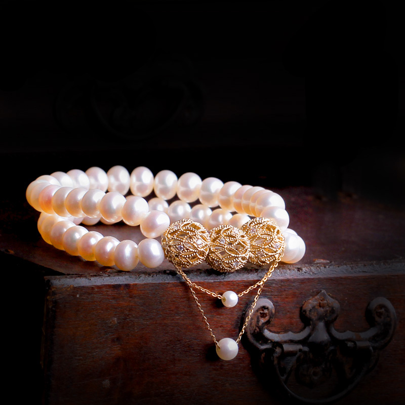 Pure AU750 Gold 6mm Pearl Bracelet Womens BraceletPure AU750 Gold 6mm Pearl Bracelet Womens Bracelet
