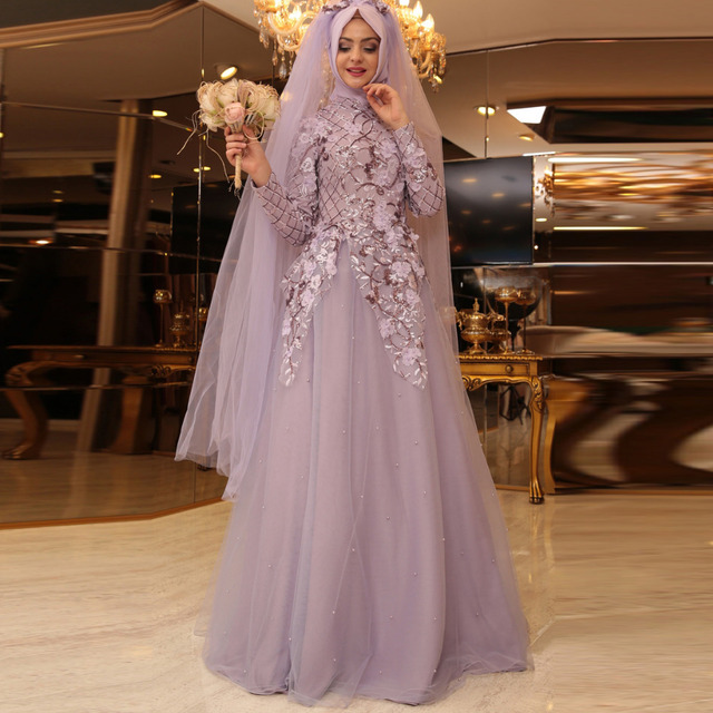 Vintage Long Sleeve Muslim Wedding Dress Civil Hijab Blush Pink Lace Bridal Crystal Tulle Bride