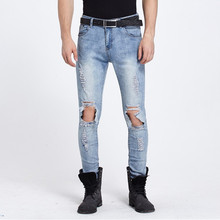 2017 новые люди разорвал отверстие джинсы проблемные уничтожено hip hop дизайнерский бренд slim fit карандаш джинсы, высокое качество