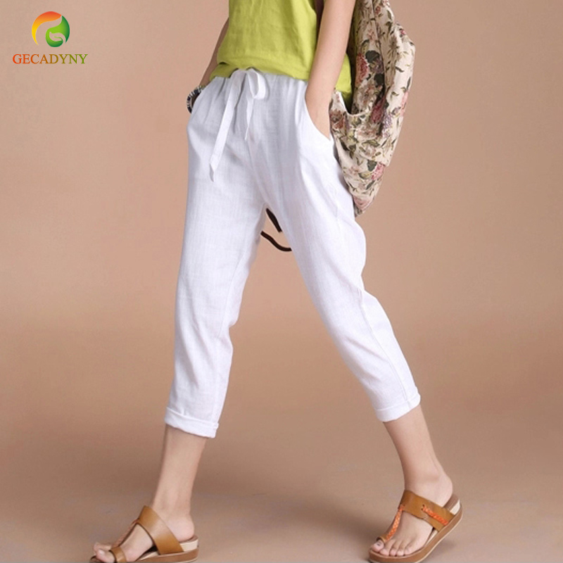 2019 Fashion Women Plus Size S-4XL Casual Cotton Linen   Pants     Capris   Women Trousers Harem   Pants   Ladies Solid Elastic Waist   Capris