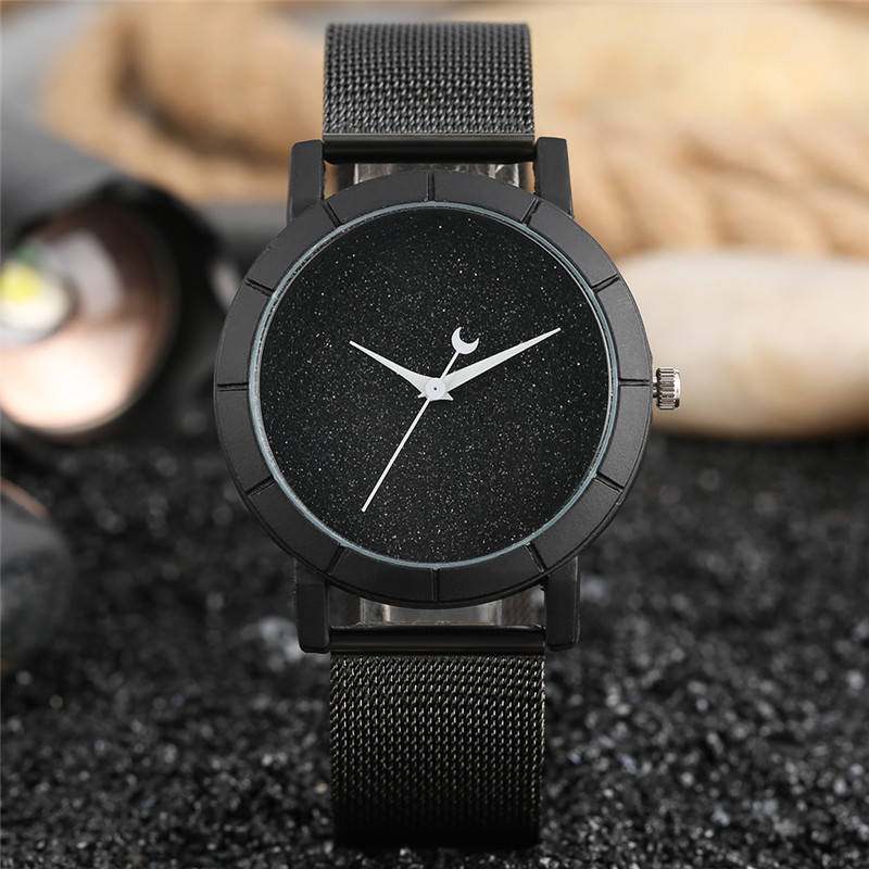 Elegant Quartz Watch Special Glitter Dial Cute Moon Pointer Mesh Band Casual Women Ladies Wristwatch relogio feminino Clock Hour rigardu fashion female wrist watch lovers gift leather band alloy case wristwatch women lady quartz watch relogio feminino 25