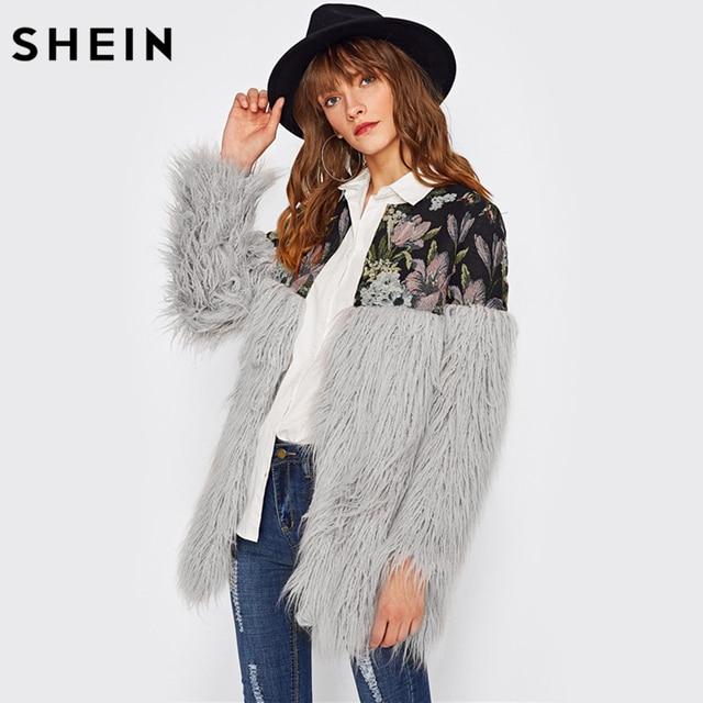 SHEIN Floral Jacquard Shoulder Faux Fur Coat Winter Coat Women Grey Collarless Long Sleeve Elegant Faux Fur Women's Outerwear