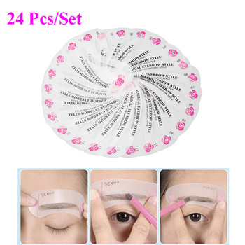 24 Designs/Set Grooming Eyebrow Stencil Kit Women Eyebrow Shaping Stencils for Painting Template Makeup Beauty Tools 4x8.8cm