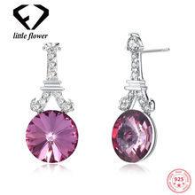 Austria Crystal Style Fashion Earrings for Women European and American  Pure 925 Silver Diamond Drill Studs Red Blue Platinum цена и фото