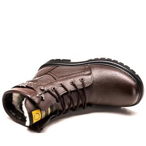 Image 4 - Misalwa männer Schnee Stiefel 2020 Britischen Echtem Leder Wolle Warme Stiefel Hübscher Stilvolle Spitze Up Frühling Motorrad Sicherheit stiefel