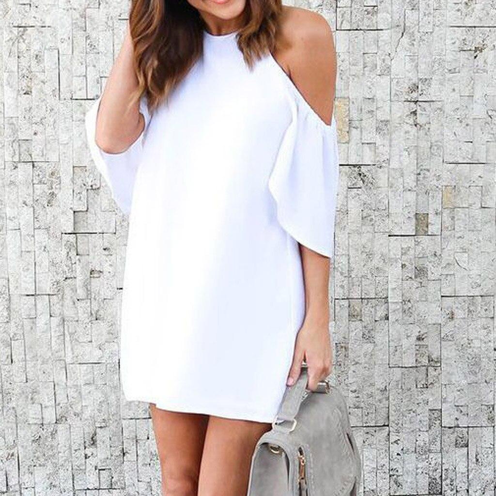 2ba434d8f8c34a5 Новое Женское Платье Лето Для женщин с оборками на рукавах белые платья с  открытыми плечами модные