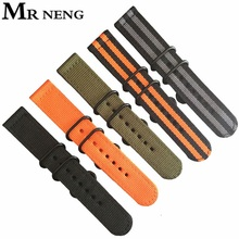 MR NENG Watch Band 18 20 22 24mm Watchbands Black Army Green For ZULU Nato Nylon Canvas Strap 3 Ring Silver Buckle