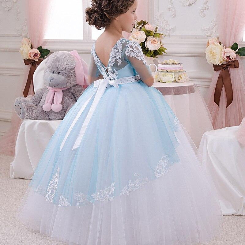 Stunning Sleeveless Holy Communion Dresses Cream Kids Floor Length Ruffles  Lace Satin Tulle Ball Gowns Girls Birthday Dress 2-13 1a960e586e5e