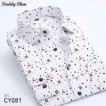 Dress shirt men slim fit style male for boys Floral butterfly Print Casual shirts mens long sleeve Classic designer Brand 2017