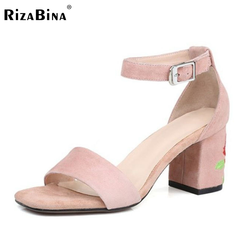 RizaBina Size 33-42 Sexy Women Real Genuine Leather High Heel Sandals Ankle Strap Flower Thick Heel Sandals Summer Party Shoes rizabina sweety summer shoes women real leather thick high heel open toe sandals women buckle strap flower footwear size 34 39