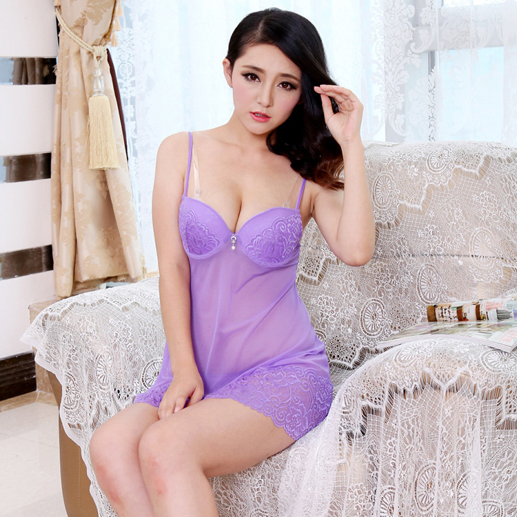 13cc2a8dd5 Detail Feedback Questions about Push Up Bra Mesh Nightgown Sleepshirt Sexy  Lingerie Women Babydoll Sleepwear Sleep Night Dress See Through Lace Night  Wear ...