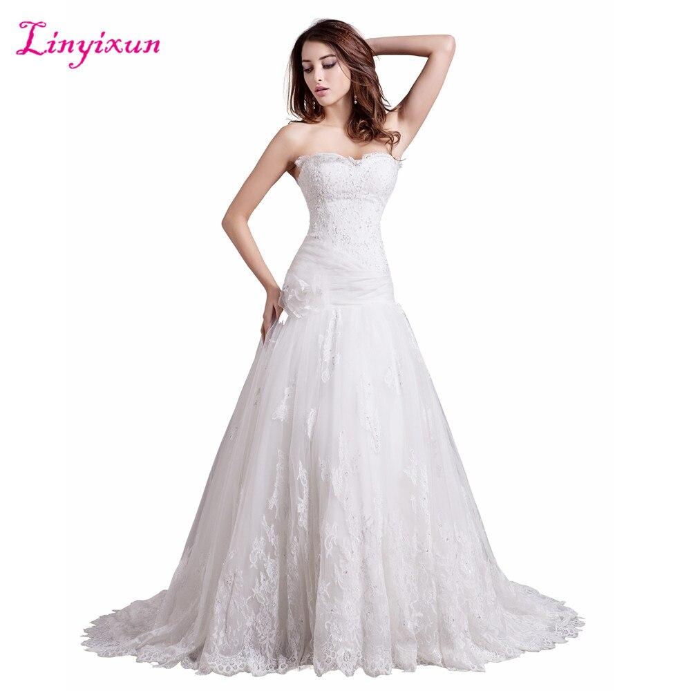 Linyixun Real Photo New Arrival 2017 Button Back Wedding Dresses Vintage Vestidos De Noiva A Line Lace Sleeveless Bridal Dress