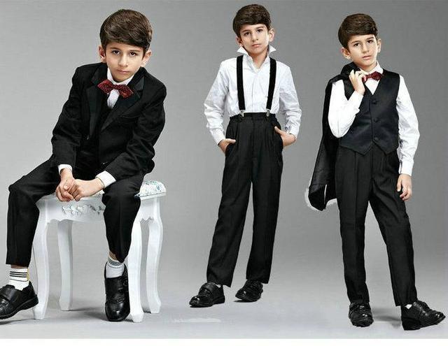 a09fe971a Black Boys Suit Boy s Formal Wear Fancy Pink Vest One Button Dress ...