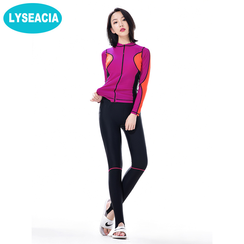 LYSEACIA Summer Wetsuit Women Rash Guards Swimwear Seperated Two Piece Swimsuit Full Body Covered Surfing Diving Swimming Suit цена