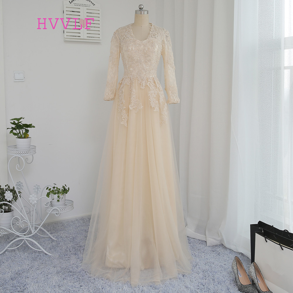 HVVLF Champagne Evening Dresses 2018 A-line V-neck Long Sleeves Tulle Appliques Lace Long Evening Gown Prom Dress Prom Gown