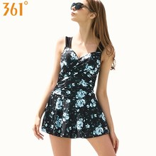 361 Push Up One Piece Swimsuit Tummy Control Print Swimming Suit for Women Beach Dress Plus Size Female Swimwear Modest Strap