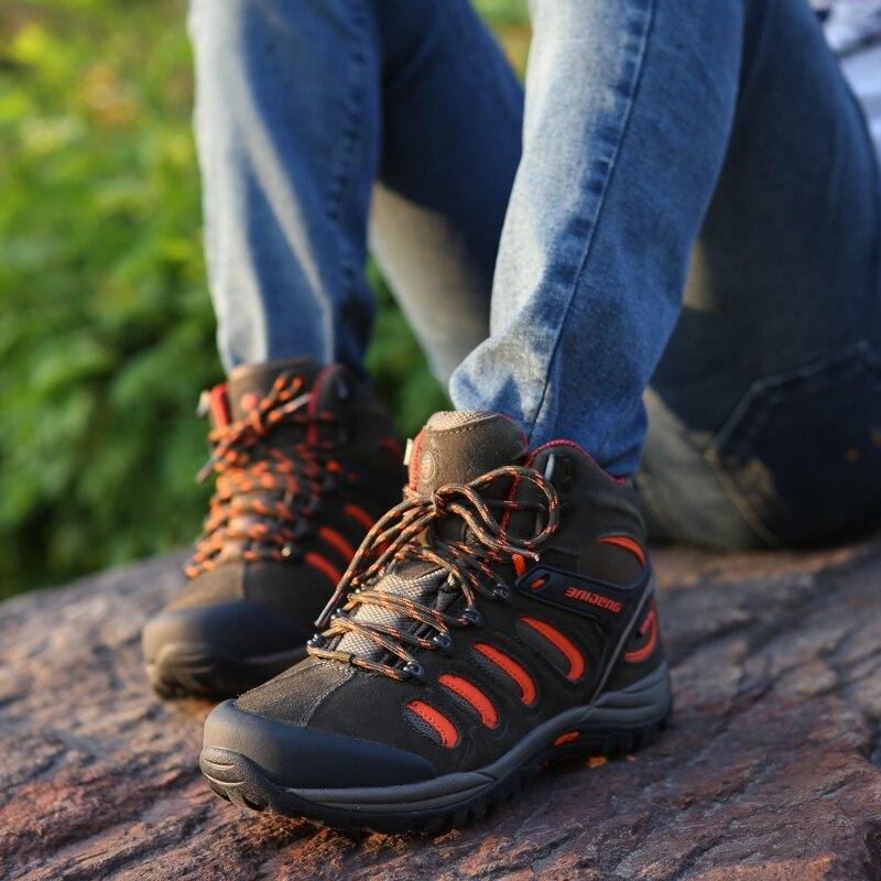 Новый мужской одежды и амортизацией беговые Пеший Туризм обувь натуральная кожа спортивная обувь на открытом воздухе