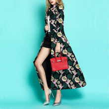 High Quality women long Trench Coats long maxi Autumn winter Jacquard flower fem