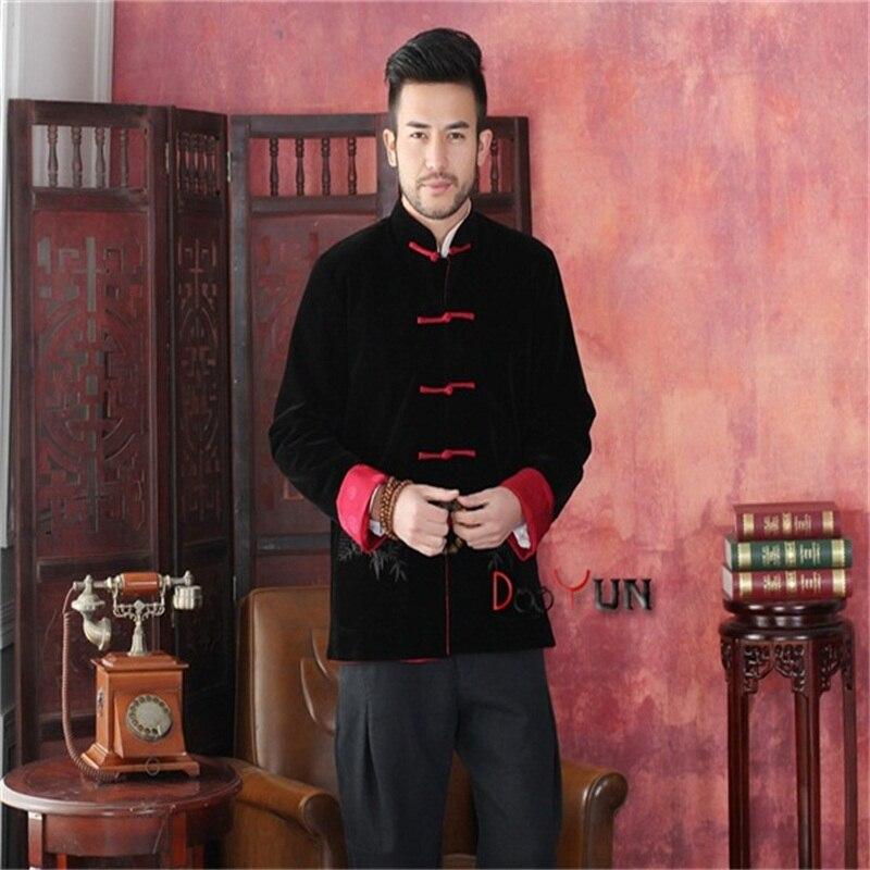 Haute qualité noir rouge hommes à manches longues deux-Face veste Kung Fu manteau velours Tang costume taille S M L XL XXL XXXL livraison gratuite