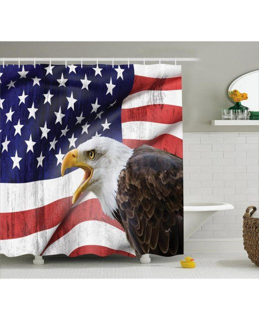 American Flag Shower Curtain Bald Eagle Icon Print For ...
