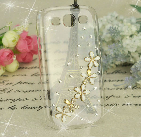 Five flower Diamond Cover For Samsung Galaxy s3 I9300 Crystal Five flower Bling Cases For Galaxy SIII S 3 +1pcs HK Free Shipping