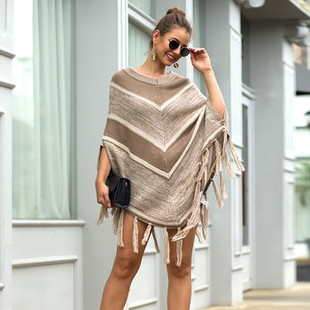 HEE GRAND Women batwing Sleeve Pullovers 2019 Autumn New Tassels Sweaters Fashion Geometric Knitted Outwear O-neck Cloak WZL1512 4