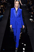 New Designs Womens Royal Blue Formal Pants Suits for Weddings Tuxedo Ladies Business Office Suits Blazer Custom Made