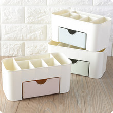 Makeup Organizer Box Jewelry and Cosmetics Organizer Storage Makeup Tableware Container 1 Drawers and 6 Grid Lipstick Case(China)