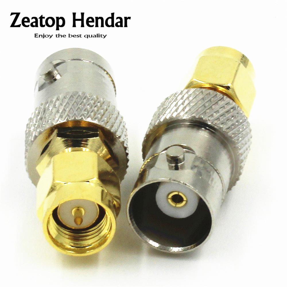 100PCS Copper BNC Female to Gold Plated SMA Male Plug Coax RF Coaxial Coax Antenna Adapter