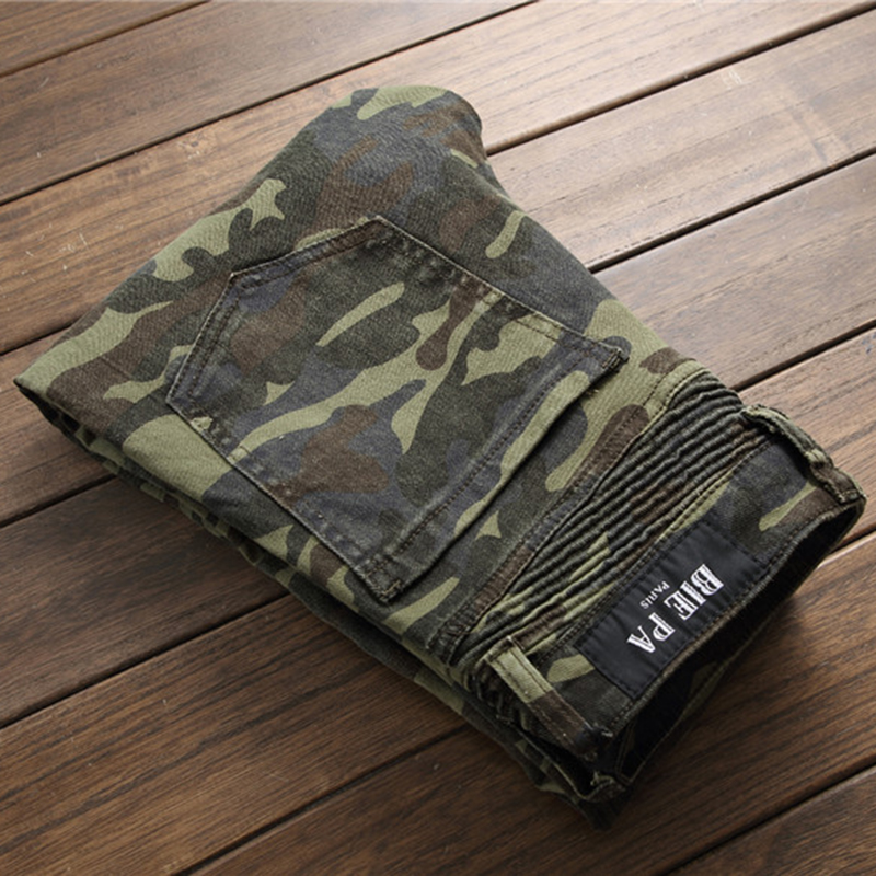 d75d48c0 New Arrival Camouflage Army Green Motorcycle Multi Zippers Denim Biker  Jeans Men Skinny 2018 Slim Jeans Hiphop Washed Trousers-in Jeans from Men's  Clothing ...