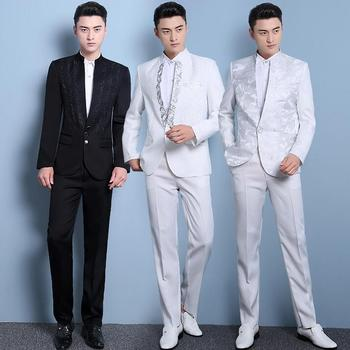 Latest coat pant designs sequins suits mens costume slim men formal dress stand collar terno masculino casamento white white tian qiong mens black wool suits latest coat pant designs chinese style stand collar slim fit groom wedding suit formal wear