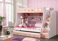 859 # комбинированная двухъярусная кровать 1,5 м детская кровать 3 в 1 детская кровать с хранением розовая детская Милая кровать