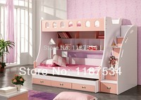 859# combined Bunk beds 1.5m children bed 3 in 1 children bed with storage pink kids lovely bed
