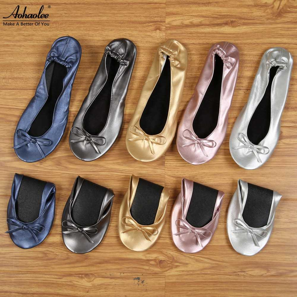 Aohaolee After Party Shoes Fashion Women Shoes Flats Portable Fold Up Bridal Prom Ballerinas Flat Shoes Roll Up Foldable Ballets