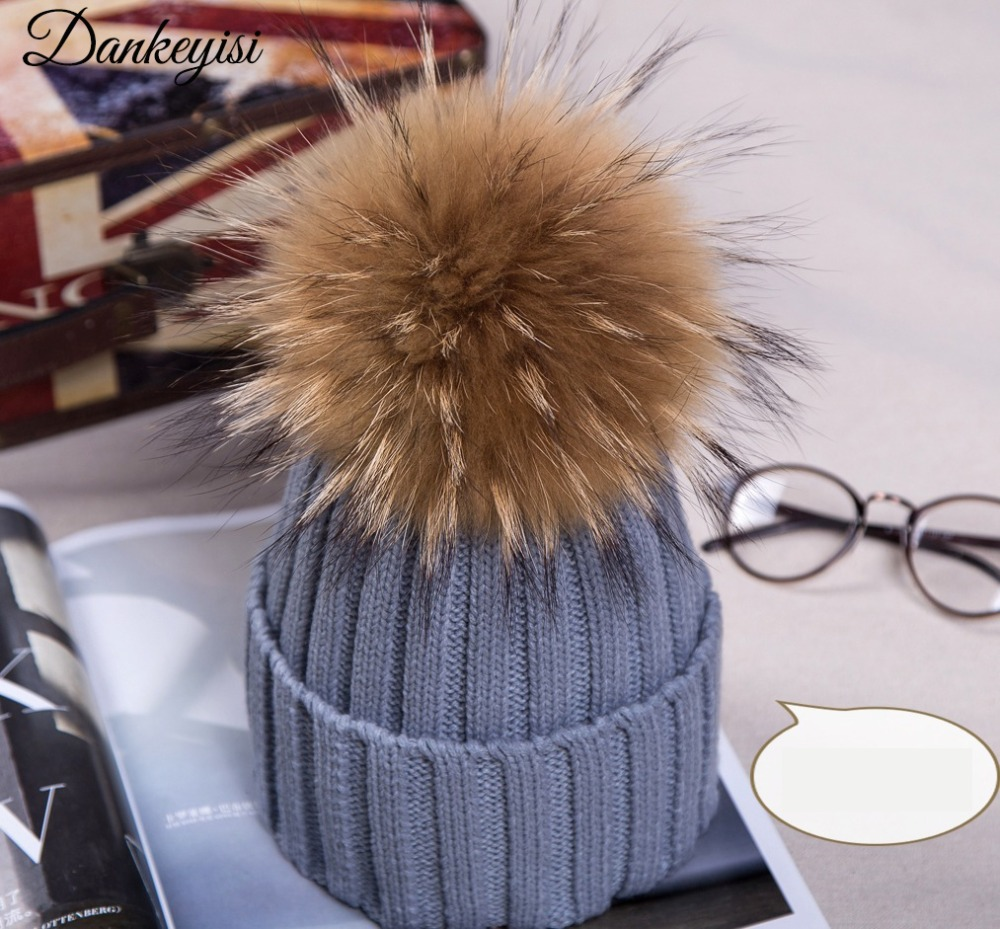 Winter Caps Knitted Beanie Hat With Raccoon Fur Poms For Women Hip Hop Skullies Cap Real 18cm Fur Pompom Beanies Cap 2016 winter brand new colorful snow caps wool knitted beanie hat for women men hip hop cap skullies
