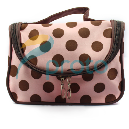 Freeshipping Fashion Portable Lady Cosmetic Cases with Sweet Pink Dots Cute Lady Coin Purses SKU:M0228