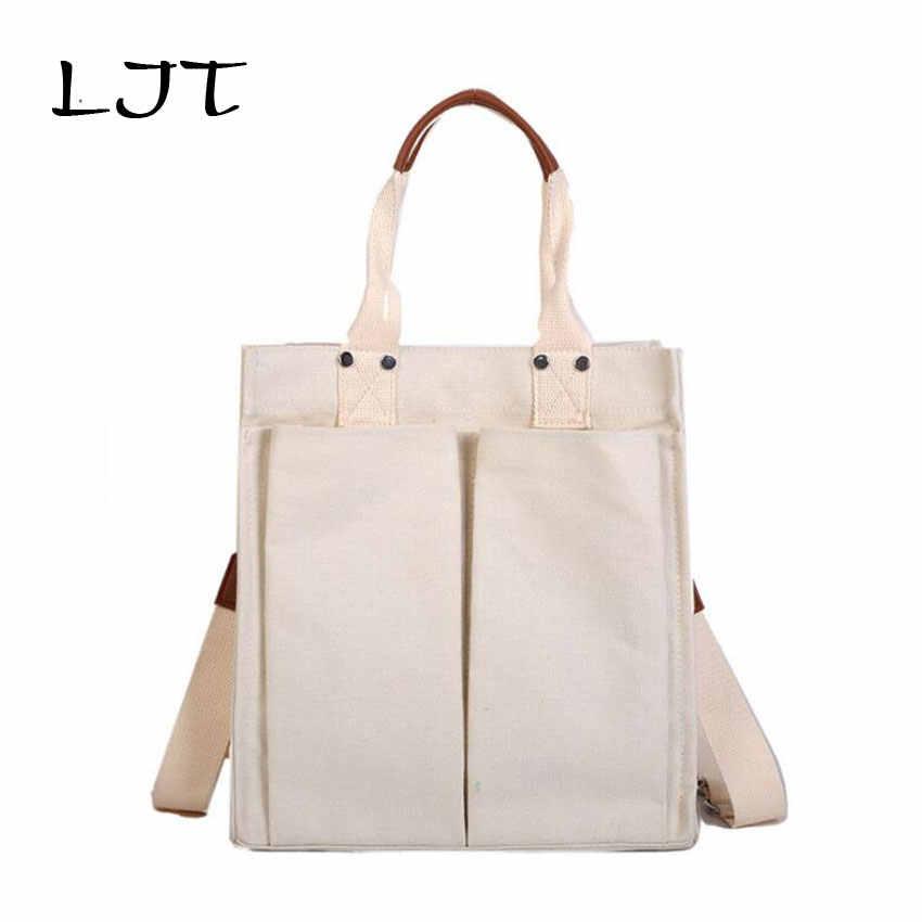 00882fbf6371 LJT холщовые сумки на плечо женские сумки для девочки большой емкости  повседневные сумки-мессенджеры сумки