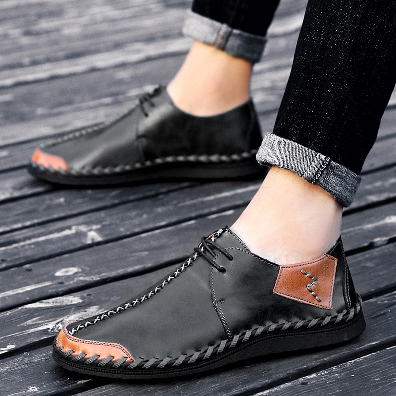 KATESEN Classic Men Shoes Plus Size Breathable Man Oxford Loafers Lace-Up Suede Leather Man Casual Shoes Moccasins 38-47
