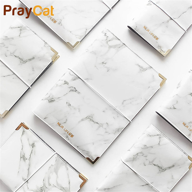 A5 A6 A7 Marble Leather Spiral Notebook Cover Office Simple Original Binder Personal Diary Agenda Organizer