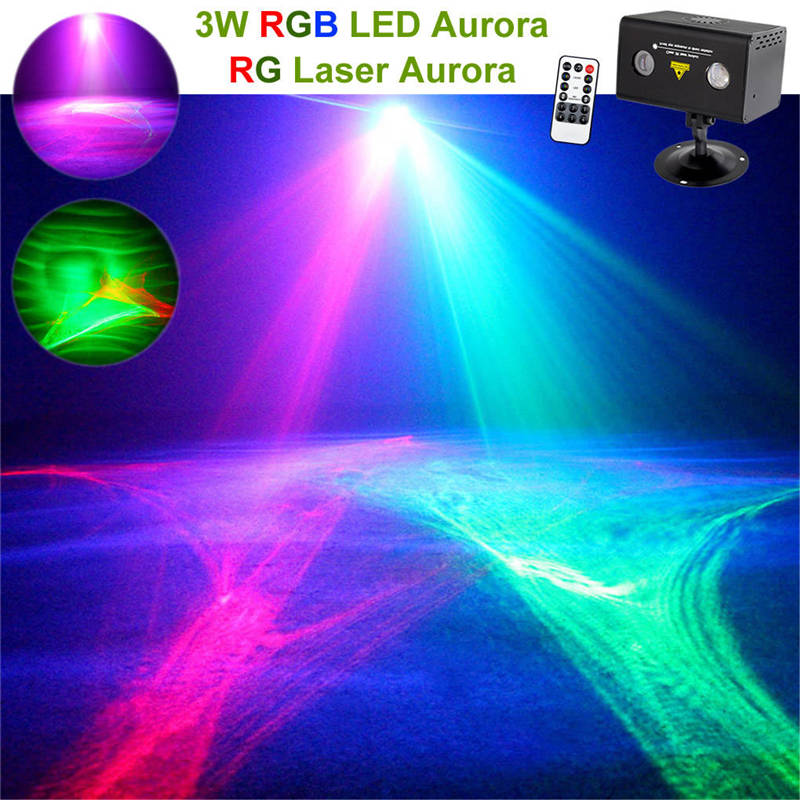 AUCD Remote RG Aurora Laser Light Professional Equipment Sky RGB LED Stage Lighting Party Disco DJ Home Wedding Lighting A200RG rg mini 3 lens 24 patterns led laser projector stage lighting effect 3w blue for dj disco party club laser