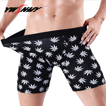 Mens Long Boxer Shorts Breathable Maple leaf print Sexy Half-length Boxers Cotton Long Leg Underpants Sculpting Slip Panties