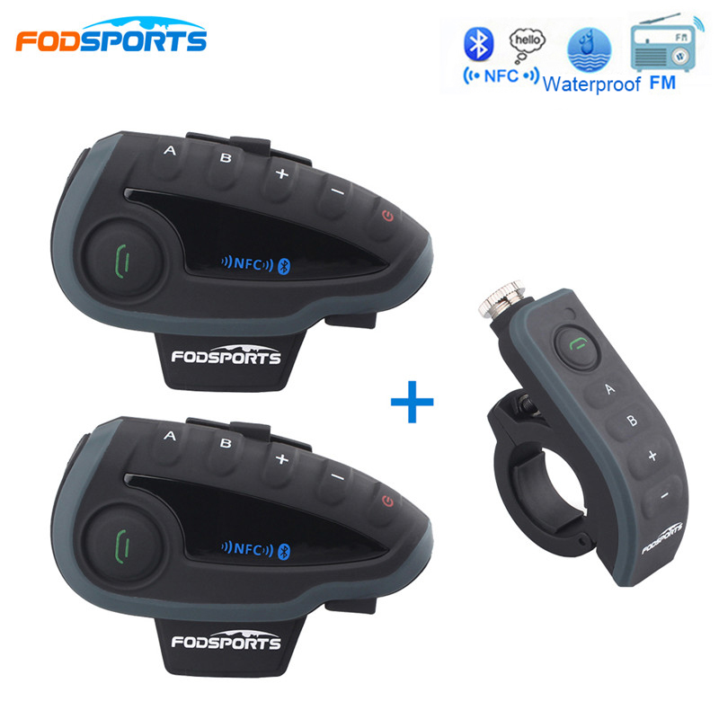 Fodsports 2*V8 Intercom + 1*Remote Controller Motorcycle Helmet Headset Bluetooth Intercom with FM NFC for 5 Riders Interphone 1000m motorcycle helmet intercom bt s2 waterproof for wired wireless helmet